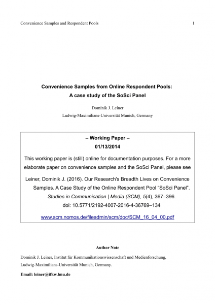 Pdf) Convenience Samples From Online Respondent Pools  A Case
