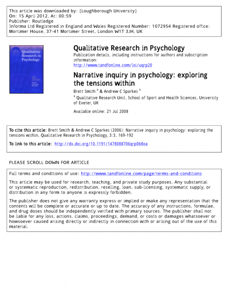 Pdf) Narrative Inquiry In Psychology  Exploring The Tensions Within