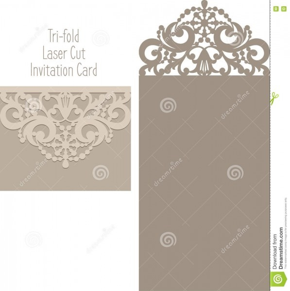 Laser Cut Envelope Template For Invitation Wedding Card Stock