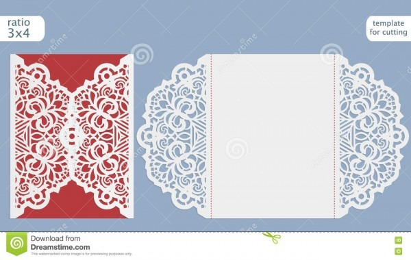 Laser Cut Wedding Invitation Card Template Cut Out Paper Card Lace