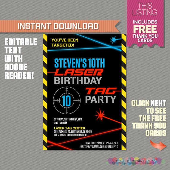 Free Printable Laser Tag Birthday Cool Laser Tag Party Invites