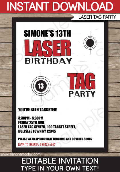 Laser Tag Ticket Invitation F Unique Laser Tag Party Invites Free