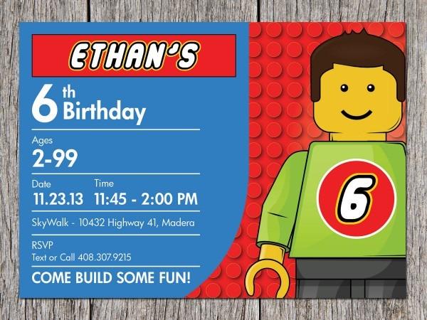 Lego Birthday Party Invitations Great Lego Birthday Party