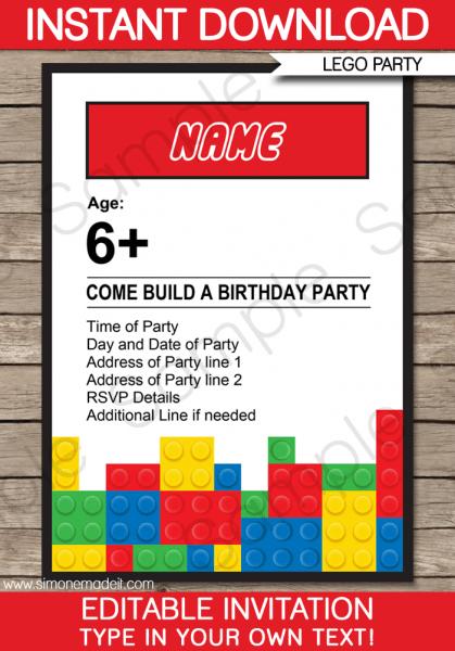 Free Printable Lego Marvelous Lego Party Invites