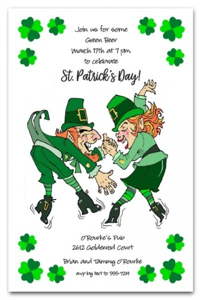 Leprechaun Boogie Stunning St Patrick's Day Party Invitations