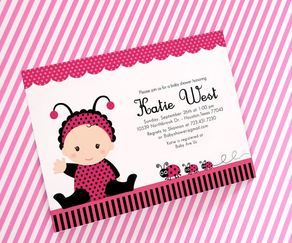 Pink Ladybug Baby Shower Invitations