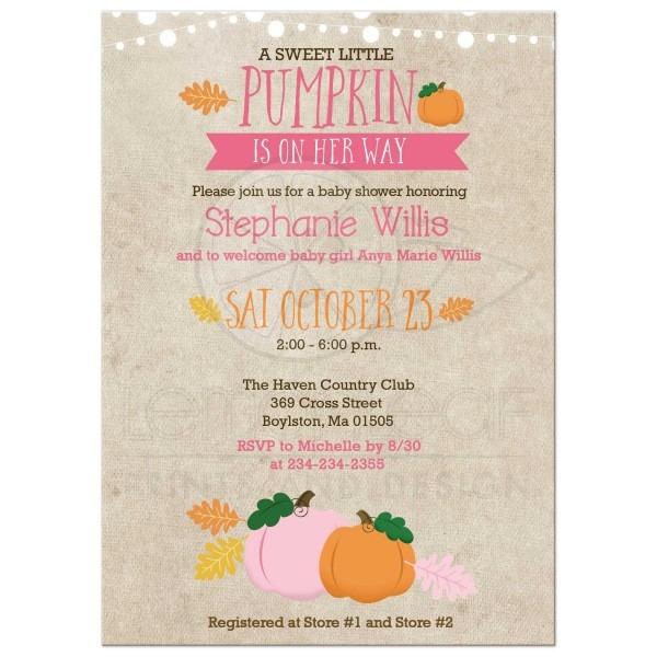 Little Pumpkin Baby Shower Invitation Pink And Orange Fall Showe
