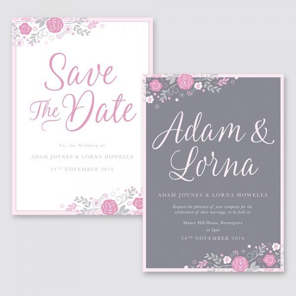 Pink & Grey Floral Wedding Stationary