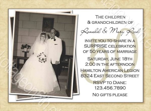 Lovely 50th Wedding Anniversary Invitation Cards 38 In Invitation
