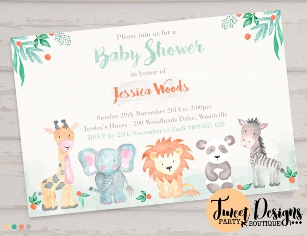 Lovely Animal Baby Shower Invitations 49 For Invitation Definition