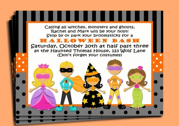 Lovely Kids Halloween Party Invitations 21 With Additional