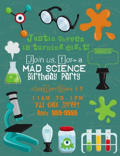 Vintage Mad Scientist Party Invitation
