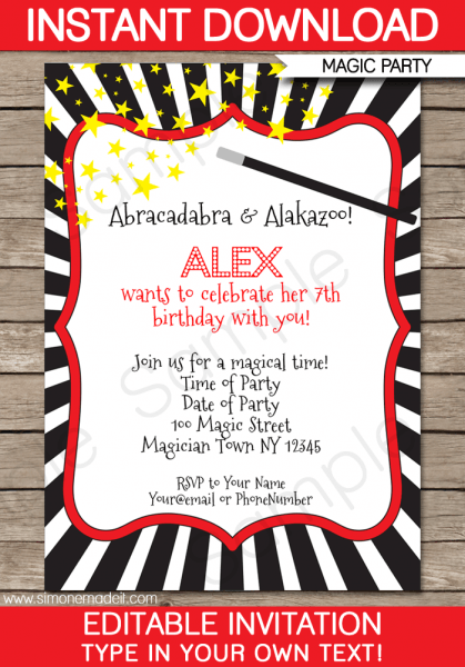 Magic Themed Birthday Invitations Fancy With Magic Themed Birthday