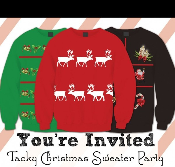 Tacky Christmas Sweater Party Invitations – Free Printable – This