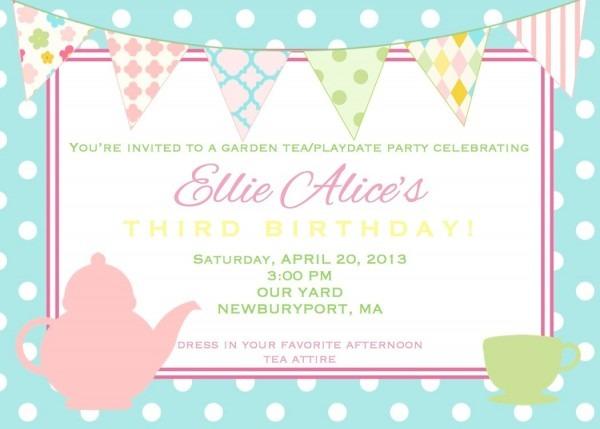 Mar Inspirational Tea Party Birthday Invitation