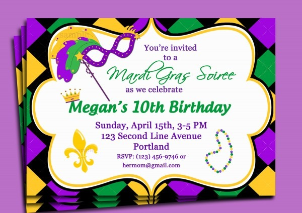 Mardi Gras Bi Fresh Mardi Gras Birthday Invitations New Mardi Gras