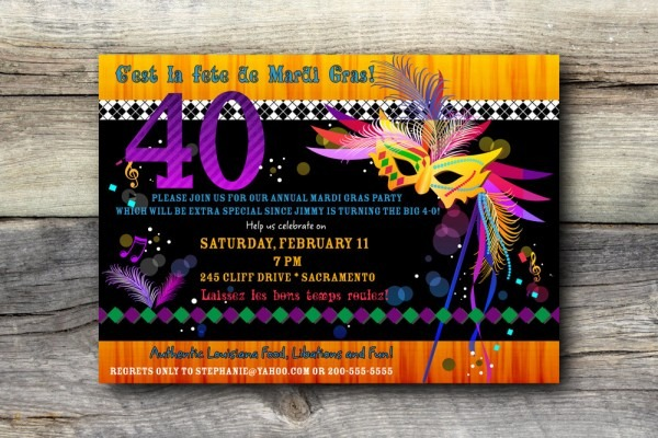 Spectacular Mardi Gras Birthday Invitations