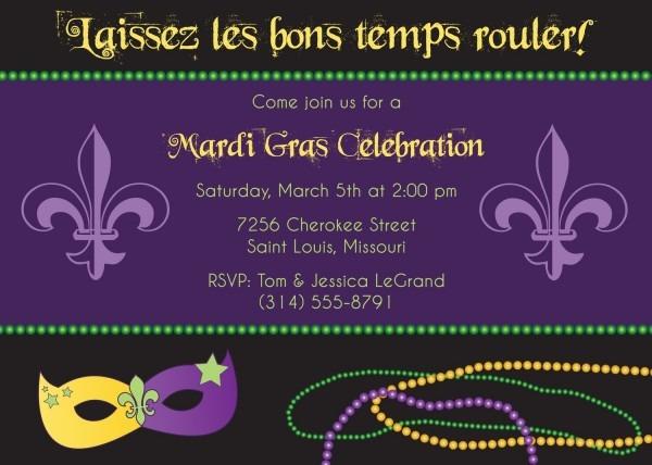 Party Invitation Template Mardi Gras Party Invitations Custom