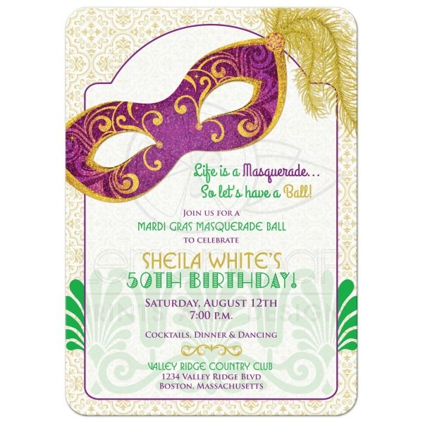 Mardi Gras Th Birthday Best Mardi Gras Party Invitations
