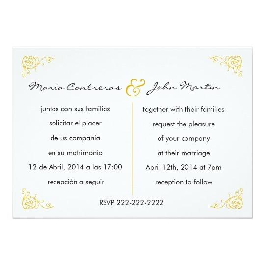 Marriage Invitation In English Bilingual English Spanish Wedding