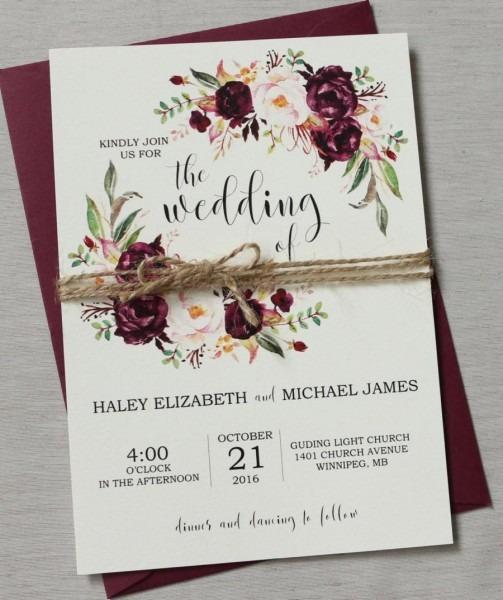 Marsala Wedding Invitation Suite, Burgundy Pink, Bohemian Wedding