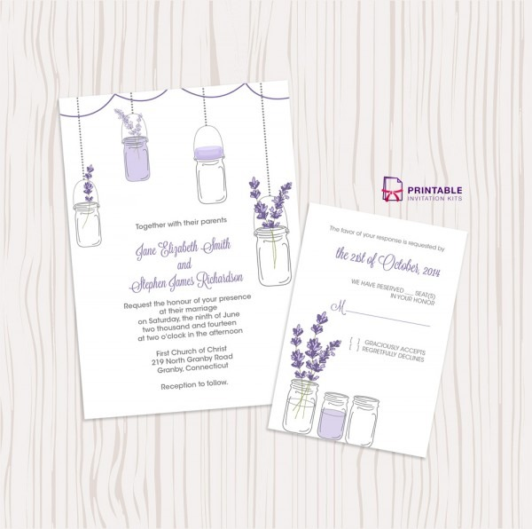 Mason Jar And Lavender Invitation And Rsvp Set ← Wedding