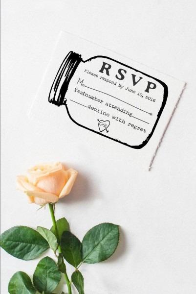 Mason Jar Rsvp Rubber Stamp For Custom Diy Wedding Invitations