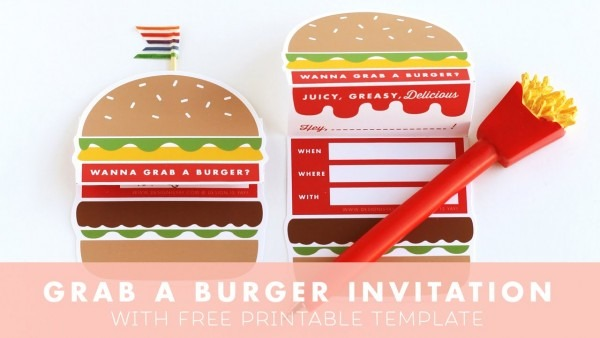 Let's Grab A Burger Invitation