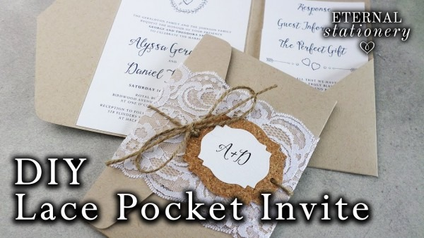How To Make Rustic Lace Pocket Wedding Invitations With Cork Tag