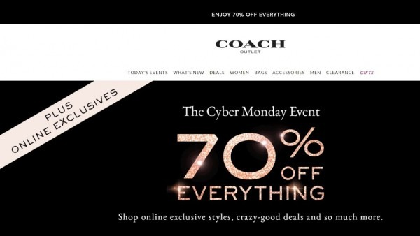 Coach Outlet Cyber Monday Event 70  Off!
