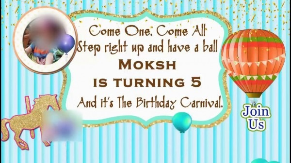 Birthday Party Whatsapp Invitation For Boy