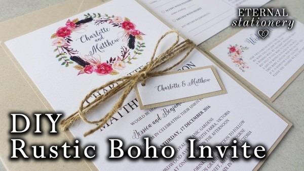 How To Make A Rustic   Boho Floral Wreath Wedding Invitation