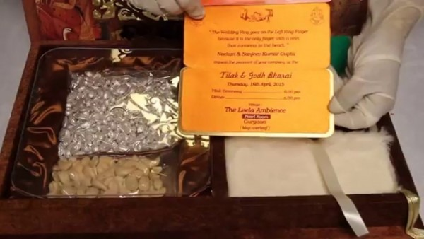 Indian Tradition Wedding Card With Rich Jaali & Mirror Box