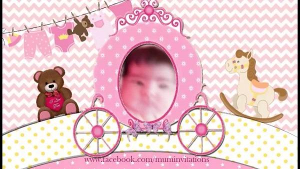 Cradle   Naming Ceremony Invitation For Baby Girl (code  Bothgrl