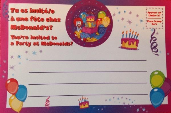 Mcdonalds Birthday Invitation Cards