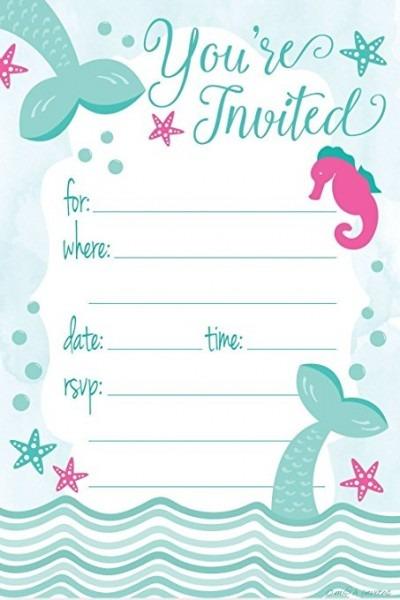 Mermaid Birthday Party Invitations Elegant With Mermaid Birthday