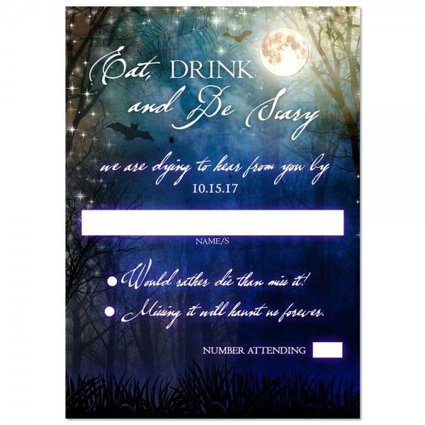 Scenic Spooky Halloween Moon Wedding Invitation