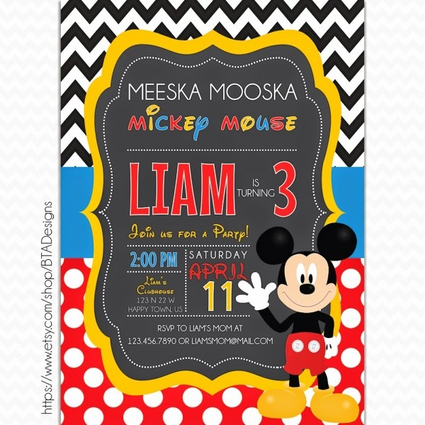 Mickey Mouse Inspired Birthday Invitations + Free Printable!