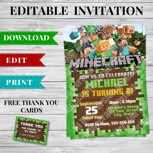 Printable Minecraft Invitation Pdf