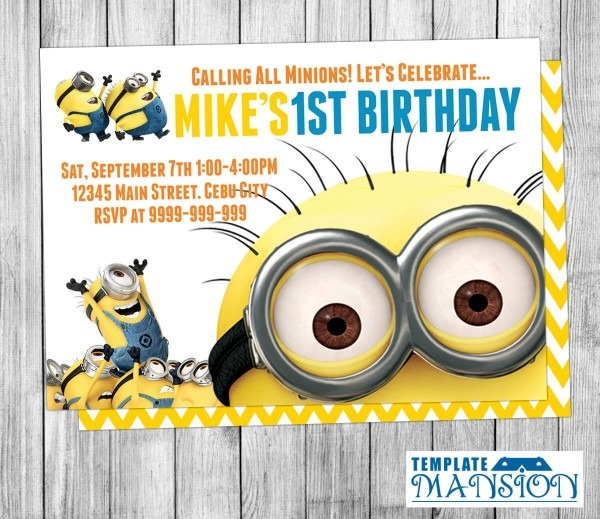 Despicable Me Birthda Nice Minions Birthday Invitations Free
