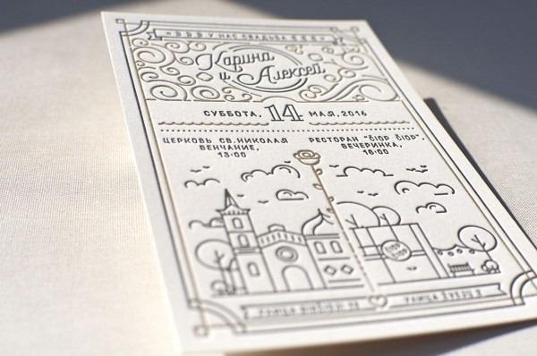 Modern Letterpress Wedding Invitation