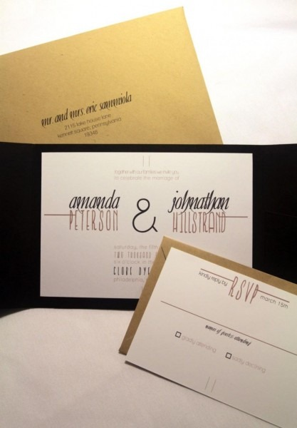 Modern Rustic Wedding Invitation Pocketfold, Custom Invites, Black