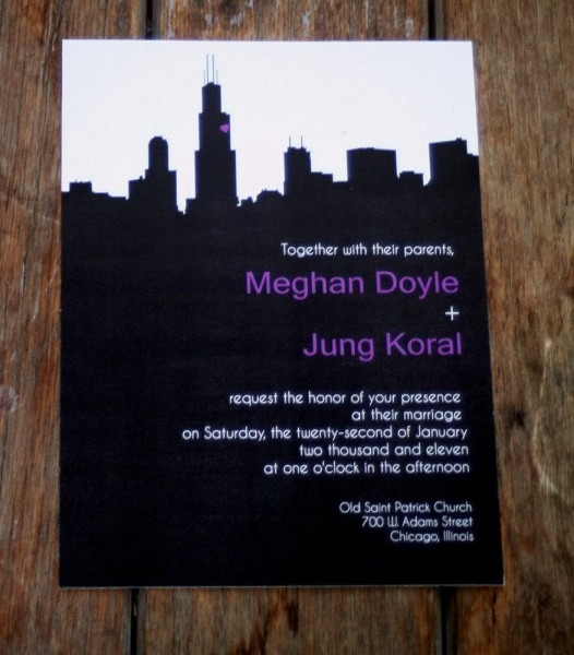 Modern Wedding Invitations,chicago Skyline Wedding Invitation,nyc