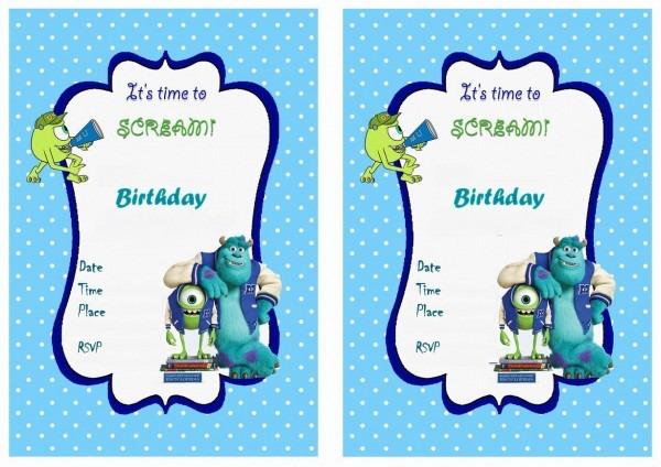Monsters University Birthday Invitation Templates