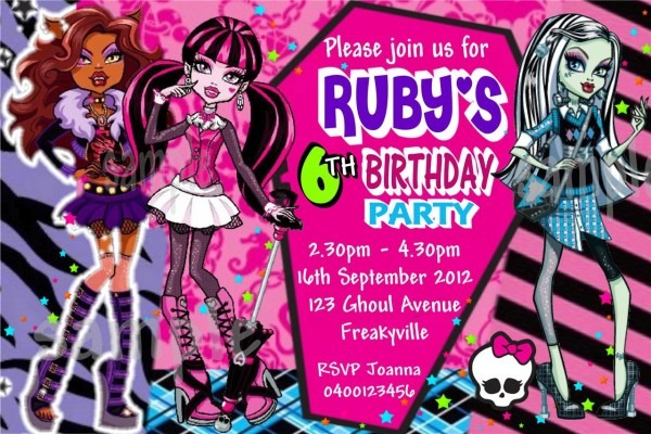 Monster High Party Invitations Monster High Party Invitations With