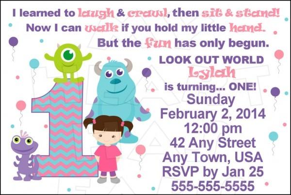Monsters Inc Invite Stunning Monsters Inc 1st Birthday Invitations