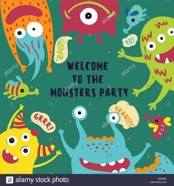 Monster Party  Invitation Card With Cute Fluffy Alien Beasts Stock