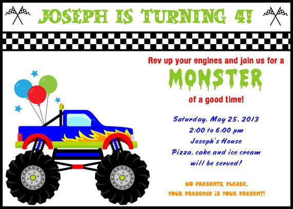 Monster Truck Birthday Invitations Monster Truck Birthday