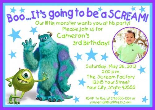 Monsters Inc Birthday Invitations For Kid Luxury Monsters Inc