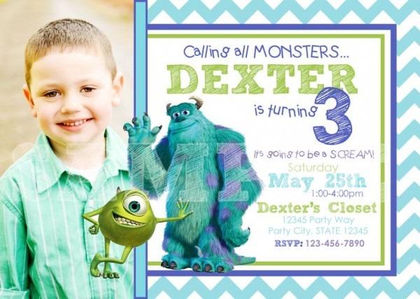 Monsters Inc Good Monsters Inc Birthday Invitations